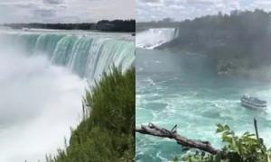 Vợ chồng Hồ Hạnh Nhi trải nghiệm cảm giác ướt đẫm khi tới thăm thác nước hùng vĩ Niagara